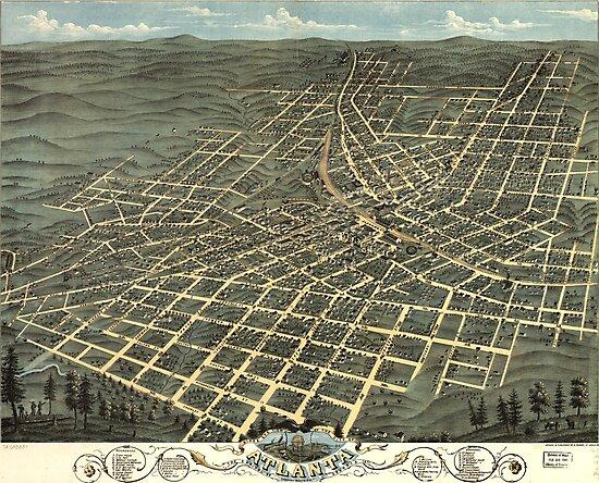 Vintage Map of Atlanta Georgia (1871) by alleycatshirts