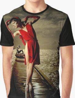 Siren - Surreal Ballerina in Red Graphic T-Shirt