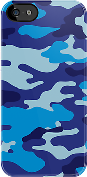 Camouflage iPhone & iPod Case (Blue) by MrFaulbaum