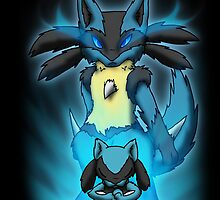 Lucario and Riolu Case by DragonwolfRooke