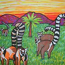 Lemurs in the grass by George Hunter