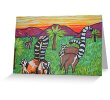 Lemurs in the grass Greeting Card