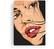 Beautiful Brown Eyed Girl with Red Lips Canvas Print