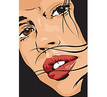 Beautiful Brown Eyed Girl with Red Lips Photographic Print