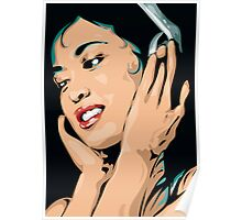 Easy Listening to Music Girl with Headphones Poster