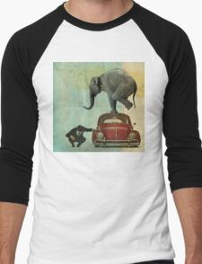 Looking for Tiny _ elephant on a red VW Men's Baseball ¾ T-Shirt