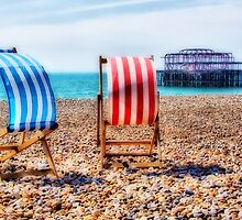 Deckchairs - Brighton Beach - Orton  by Colin  Williams Photography