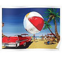 Summer Dreamin' Bright Sunny Beach Scene Poster