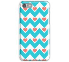 hearts&chevron - turquoise&coral iPhone Case/Skin