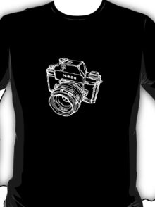 Nikon F Classic Film Camera Illustration WHITE for dark colors T-Shirt