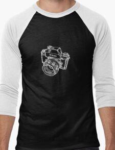 Nikon F Classic Film Camera Illustration WHITE for dark colors Men's Baseball ¾ T-Shirt