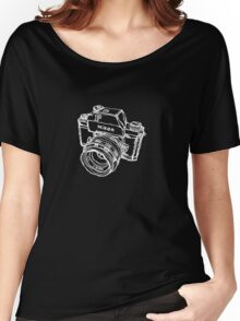 Nikon F Classic Film Camera Illustration WHITE for dark colors Women's Relaxed Fit T-Shirt