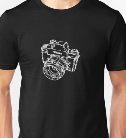Nikon F Classic Film Camera Illustration WHITE for dark colors Unisex T-Shirt