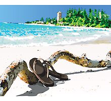 Sunny Empty Beach Scene with Driftwood and Flip Flops by Doug Wells