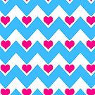 hearts&amp;chevron pattern - blue &amp; pink by designsbyjenn