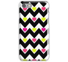 hearts&chevron - black&neon iPhone Case/Skin