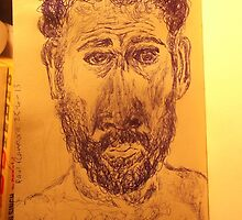 Self-portrait -(240413)- Blue biro pen/A5 sketchbook/White paper by paulramnora