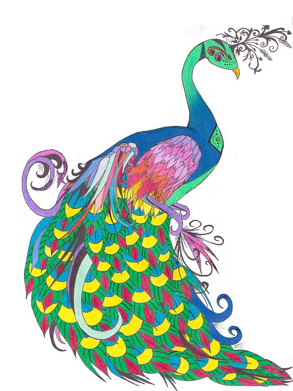 Quot Rainbow Peacock Quot Stickers By Riley J Broadbent Redbubble