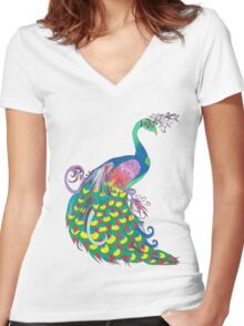 Rainbow Peacock Women's Fitted V-Neck T-Shirt