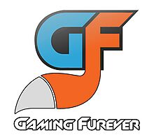 Gaming Furever Logo White Outlined Photographic Print