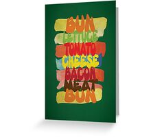 Funny Burger Typography Art Greeting Card