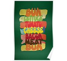 Funny Burger Typography Art Poster