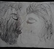 The Kiss -(230413)- Black biro pen/A5 sketchbook, white paper by paulramnora
