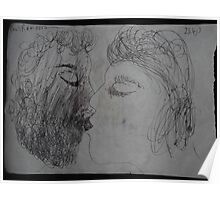 The Kiss -(230413)- Black biro pen/A5 sketchbook, white paper Poster