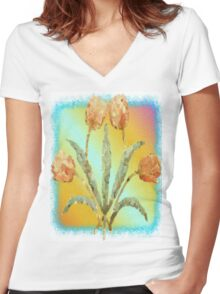 Colourful Tulips Women's Fitted V-Neck T-Shirt