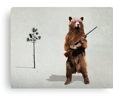 Bear with a shotgun Canvas Print