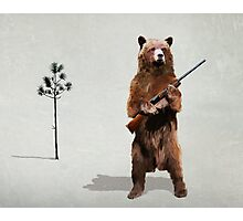 Bear with a shotgun Photographic Print