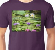 Pink, Purple and White Water Lilies Unisex T-Shirt
