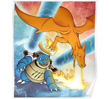 Charizard vs Blastoise Poster