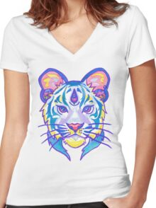 Clairvoyant Pastel Tiger Women's Fitted V-Neck T-Shirt