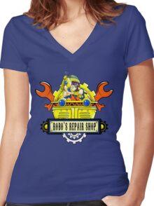 Robo Repair Shop Women's Fitted V-Neck T-Shirt