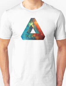 Abstract Geometry: Penrose Nebula (Fire Red/Orange/Blue) T-Shirt
