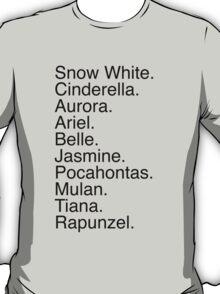 Disney Princess Names T-Shirt