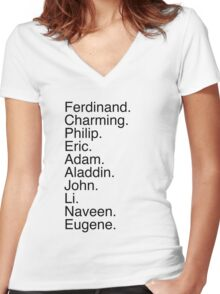 Disney Princes Names Women's Fitted V-Neck T-Shirt