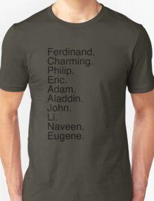 Disney Princes Names T-Shirt