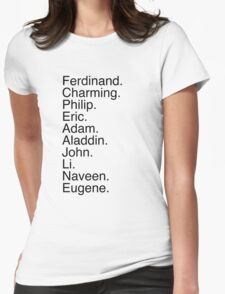 Disney Princes Names Womens Fitted T-Shirt