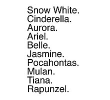 Disney Princess Names Photographic Print