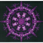 Purple neon Kaleidoscope on black by Jennifer Mosher