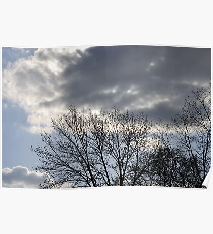 Blue Sky, Sun, Clouds Poster