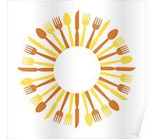 circular cutlery design Poster