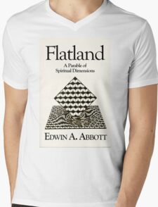 Flatland: flat-chested just means more spiritual! Mens V-Neck T-Shirt