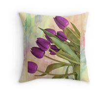 Painterly Tulips Throw Pillow