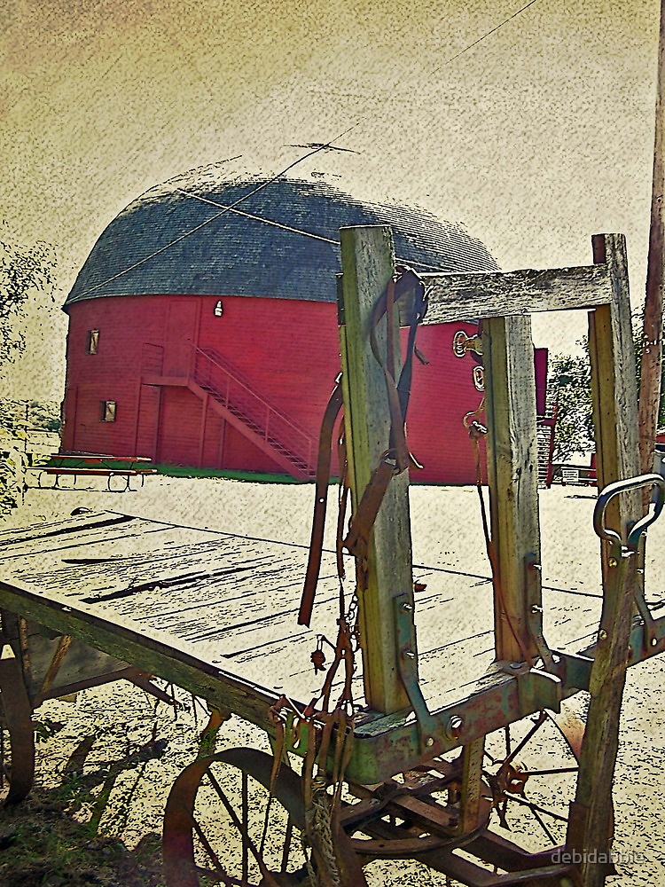 Old Round Barn and Hay Wagon by debidabble