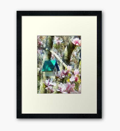 Birdhouse in Magnolia Framed Print