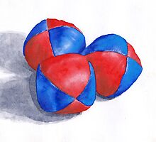 blue and red juggling balls by andy-jones