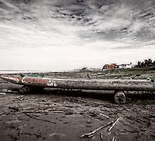 Ecuadorian Fishing Raft - Black and White by Paul Wolf